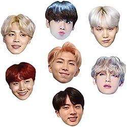 Star Cutouts CMP2 BTS Bangtan Boys Kpop Siete Pack de máscaras de punto de conversación, diversión para eventos y fiestas, multicolor