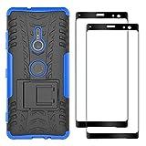 FANFO® Sony Xperia XZ3 Hülle + [2 Stück] Gehärtetem Glas, TPU + PC-Kombination Faltbarer Halter Outdoor Schutzhülle + 9H Härte Bildschirmschutzfolie Folie für Sony Xperia XZ3, Blau