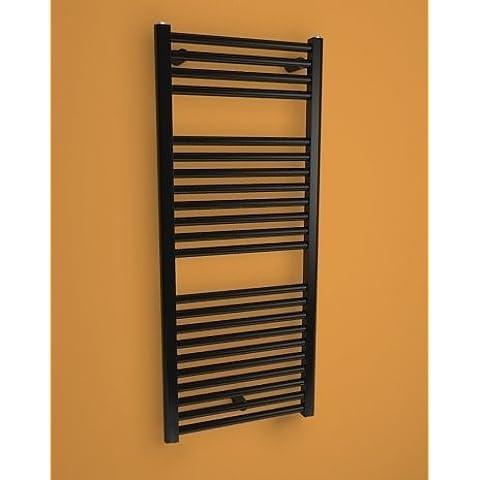 CORAL--Seca-Toallero radiador eléctrico con termostato fuerte incluye-Design-695 x 450 mm, color negro, 298 w. Colocación mural