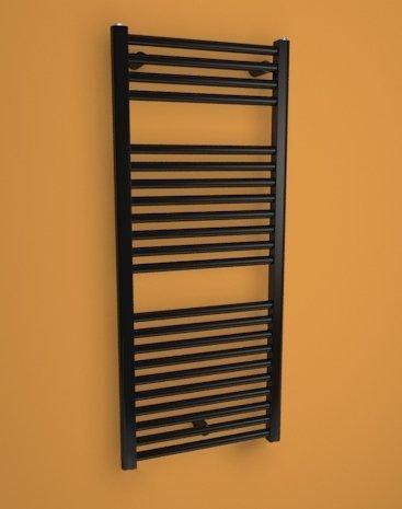 CORAL- Sèche-serviettes - Radiateur électrique - Thermostat mini inclus - Design Plat 935 x 500mm - Noir - 429 watts - Pose murale verticale