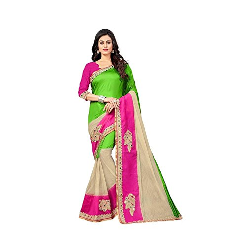 Roop Craft Paper Silk and Net Saree with Blouse Piece (Pramukh-Green)