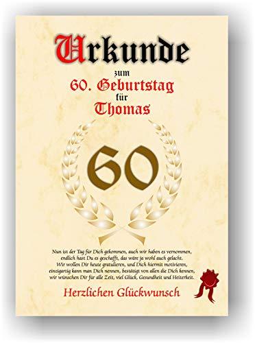 Urkunde zum 60. Geburtstag - Glückwunsch Geschenkurkunde personalisiertes Geschenk Gedicht Grußkarte Geschenkidee mit Spruch DIN A4