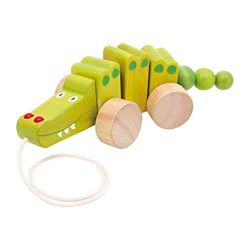 Zieh-Krokodil aus Holz, fördert die Motorik und animiert dazu es an der Schnur hinterher zuziehen, tolles Spielzeug für kleine Laufanfänger