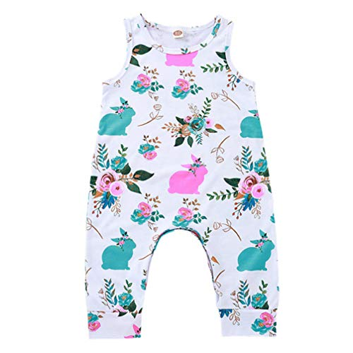 Fenical Baby Bunny Outfit Hase Baby Kleidung Hase Onesies Bodys Ostern Baby Overall für Mädchen (Weiß) - Hase Blume (Weiß)