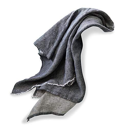 Loberon Plaid Carrion, Leinen, H/B ca. 170/130 cm, grau