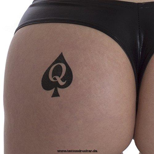25 x Queen of Spades Tattoo in black - Hotwife Tattoo