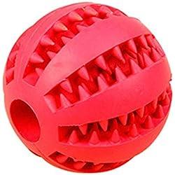 KDSANSO Jouet Balle Chien,Balle Durable à Mâcher pour l'entraînement/Nettoyage de Dent/Mastication Idéal pour Petits, Moyens, Grands Chiens,Diam 5cm Rouge