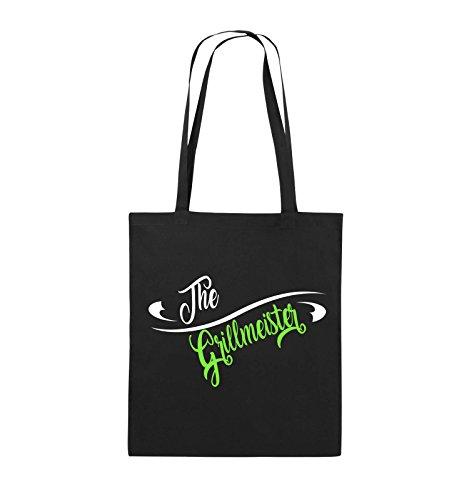 Comedy Bags - The Grillmeister - Jutebeutel - lange Henkel - 38x42cm - Farbe: Schwarz / Weiss-Neongrün Schwarz / Weiss-Neongrün
