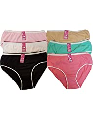 Lot de 6 Slip Femme 100% coton couleur assorties!!