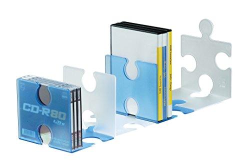 Imagen principal de Han 9212-64 - Soporte para CD o libros en forma de pieza de puzzle, color azul transparente [importado de Alemania]