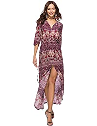 Vestido De Mujer Suelto Cóctel Boho Imprimir Partido Verano Playa V-Cuello Maxi Vestidos