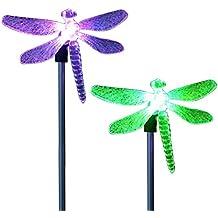 CISTWIN Paquete de 2 colores cambiantes óptica LED solar Powered Dragonfly Garden Pathway luces de estaca