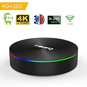 Android 8.1 TV Box, Android Box 4GB RAM 32GB ROM S905X2 Quad-core Cortex-A53 Support 2.4G/5G WiFi/H.265 Decoding/4K Full HD Output/ HDMI2.0/ 1000M Ethernet/ Bluetooth 4.1 Smart TV Box