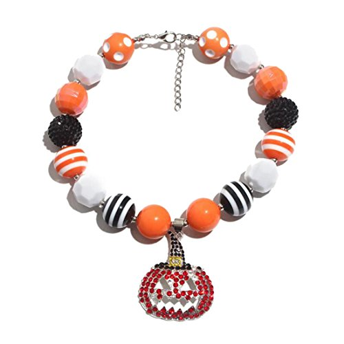 Lovely Kürbis Anhänger geschoben Bubblegum Bunte Perlen Halskette Charm Choker Geschenk für Mädchen Damen
