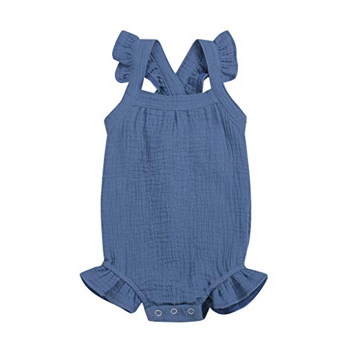 jerferr Säugling Strampler Neugeborenes ärmelloses festes Strampler-Rüschen-Bodysuit-Kleidungs-Outfit