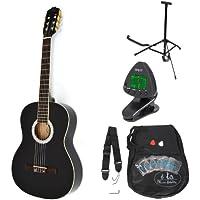 ts Music fidelity - Guitarra clásica concierto completa con accesorios, de primera calidad, color negro, tamaño regular (4/4)