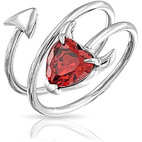 Bling Jewelry Gennaio Birthstone Granato Colore CZ Devil cuore anello a spirale in acciaio