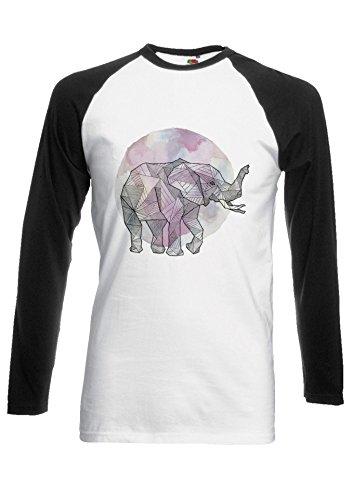 Elephant Art Drawing Rainbow Novelty Black/White Men Women Damen Herren Langarm Unisex Baseball T Shirt Verschiedene Farben *Schwarz