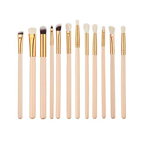 HimanJie Jeu de brosses de maquillage 12pcs. Kits de pinceau poudre Fondation professionnelle