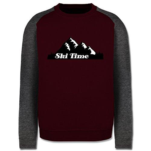 Wintersport - Ski Time - Herren Baseball Pullover Burgundrot/Dunkelgrau meliert
