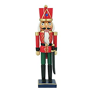 The Christmas Workshop 81550 35.5 cm Tall Wooden Soldier Nutcracker on Stand, Multi-Colour