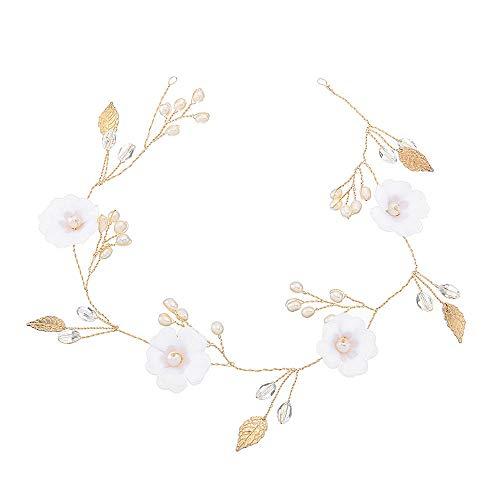 eue Süßwasser Perlen Braut Haarband Spitze Blume Hochzeitskleid Zubehör Europa und den Vereinigten Staaten Braut Tiara Großhandel@Gold ()