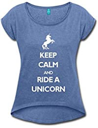 Licorne Keep Calm Ride A Unicorn T-shirt Femme à manches retroussées de Spreadshirt®‎