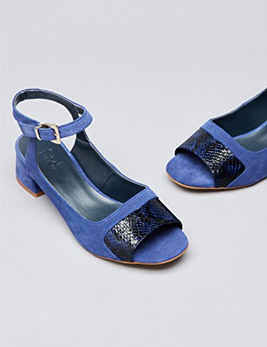 FIND Sandales Talons Moyens Bouts Ouverts Femme Multicolore (Blue)