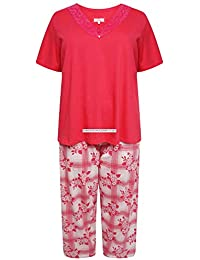 8349806927f Evans Womens Plus Size Short Sleeve Pyjamas with Red Rose Check Pants