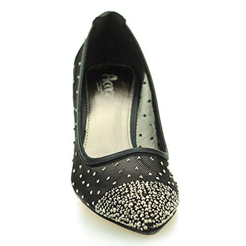Aarz Femmes Mesdames Soirée Cour Diamante Low Heel Sandal mariage Prom Party Chaussures de mariée Taille (Or, Argent, Noir, Champagne) Noir