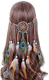 Mädchen Frauen Lady Bohemian Pfauenfeder Stirnband Dreamcatcher Kopfschmuck Hippie Genickstück mit Kopfbedeckungen handgefertigt Tribal Indian Fascinator Feder Haarband Hair Zubehör (Womens Indian Kopfschmuck Kostüm)