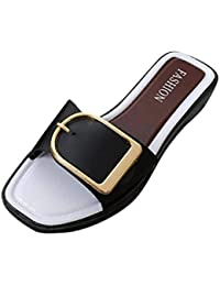 Fuxitoggo Sommerhausschuhe, Damen New Look Round Toe Quadratische Schnalle  Hausschuhe Flip Flop Damen Lässig Flache 1afe63a237