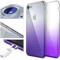 URCOVER Custodia Protettiva Arcobaleno per Apple iPhone 7 | Back Cover Morbida in Silicone TPU | Slim Case Trasparente Ultra Sottile in Lilla