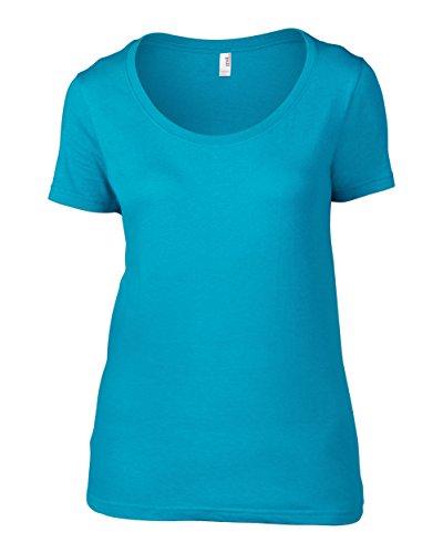 Anvil Frauen schiere Schaufel-T-Shirt Karibikblau