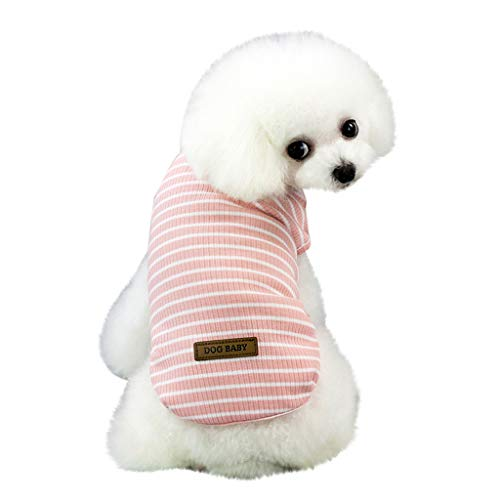 EUZeo Schön Haustierbekleidung für Kleiner Hund Kleine Katze Pet Frühling und Sommer Einfarbig Streifen Hund Shirt Kostüme Haustier Hund Kleidung Weste Kleidung für Hunde ()