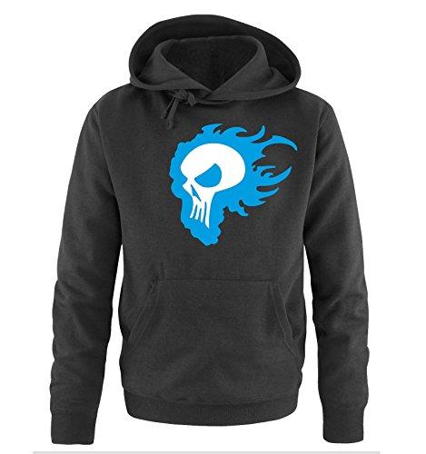 Comedy Shirts - FLAME SKULL - Uomo Hoodie cappuccio sweater - taglia S-XXL different colors nero / bianco-blu