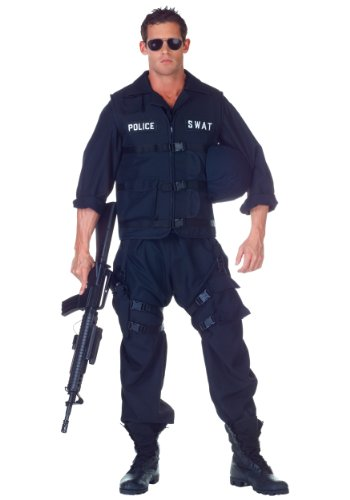 SWAT Team Polizei Officer Uniform Kostüm - (Swat Jumpsuit)