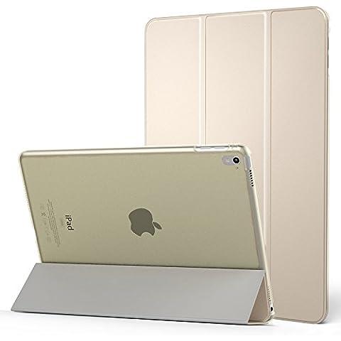 MoKo iPad Pro 9.7 Funda - Ultra Slim Función de Soporte Protectora Plegable Smart Cover Trasera Transparente Durable (Auto Sueño / Estela) Para Apple iPad Pro 9.7 2016 Tableta, Oro