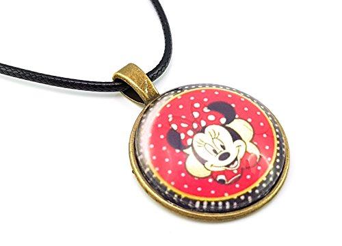 Stechschmuck Halskette mit Anhänger Handmade Amulett Medaillon Talisman Minnie Maus Punkte Polka Dots Vintage Oldschool Damen Kinder 27mm Nickelfrei -