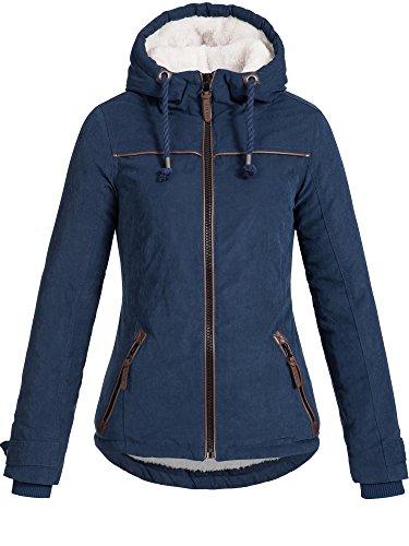 DESIRES Damen Basse warme Winterjacke Kapuze Kordeln Teddyfell gefüttert Übergangsjacke Regenjacke Winter Jacke 1991 INSIGNIA BLUE XS