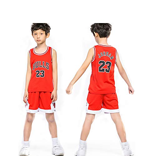 Chico NBA Michael Jordan # 23 Chicago Bulls Retro Pantalones Cortos de Baloncesto Camisetas de Verano Uniformes y Tops de Baloncesto Uniformes (Rojo, S)