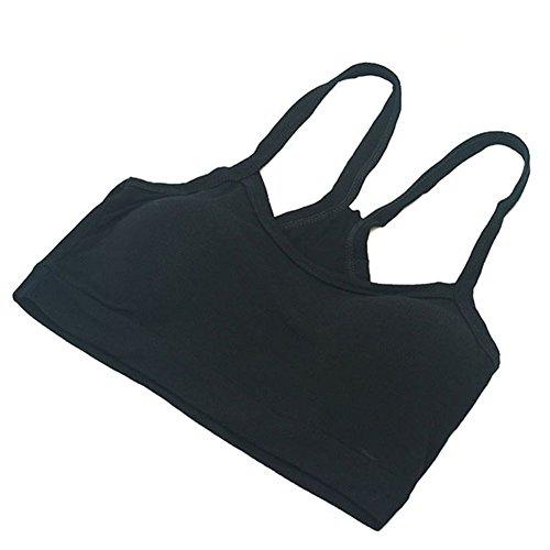 EXIU Femmes/Fille Hauts écourtés Sous-vêtements Yoga Bracelet Sport Bra Cotton/Vest Bra Noir