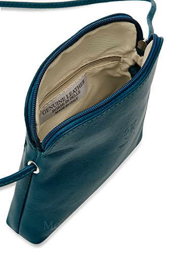 Vera Pelle Italiana Piccolo e morbido Croce Corpo Borsa a tracolla, Light Coffee (marrone) - PS49 blu navy