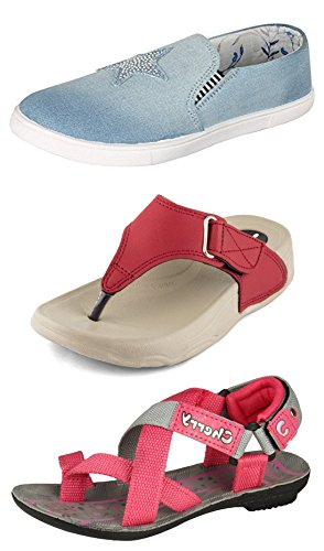 Jabra Women's & Girls Shoes, Slippers & Sandals Combo Pack of 3(Z-3 SKY BLUE +PL-01 RED+CHERRY-3 PINK)