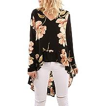 Ba Zha HEI Elegant Frauen Blumendruck Langarm Shirt Bluse Rüschen  Unregelmäßige Damen Bluse Elegant Chiffon Langarm 4e7bddb6cb