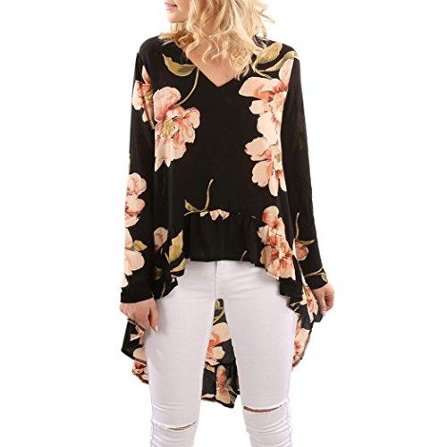 BA Zha Hei Elegant Frauen Blumendruck Langarm Shirt Bluse Rüschen Unregelmäßige Damen Bluse Elegant Chiffon Langarm Tunika Leicht V-Ausschnitt Festliche Blusen mit Einstellbare Tops (Schwarz, XXL) (Chiffon-bluse Unregelmäßigen)