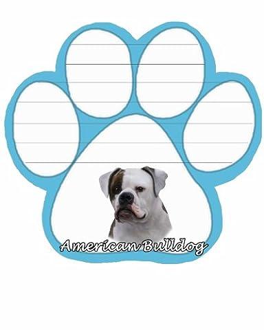 American Bulldog Notizblock mit einzigartigen sterben Schnitt Paw Shaped Sticky Notes 50Blatt á 5by 11,9cm Convenient Funktionales Everyday Artikel Tolles Geschenk für American Bulldog Liebhaber und Besitzer