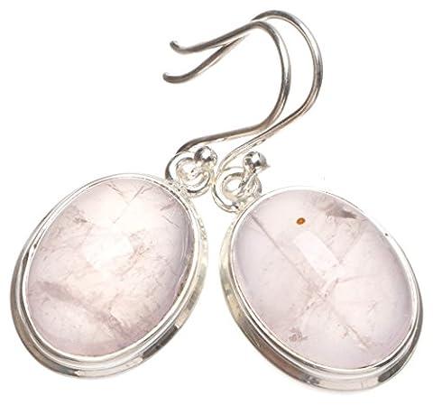 StarGems(tm) Natural Rose Quartz Handmade Boho 925 Sterling Silver Earrings 1 1/4