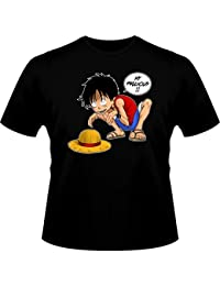 T-Shirt Manga - Parodie Luffy de One Piece et Gollum - Traduction Anglais - My Precious (SD) - T-shirt Homme Noir - Haute Qualité