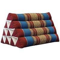 Kapok Thaikissen, Yogakissen, Massagekissen, Kopfkissen, Tantrakissen, Sitzkissen - rot/blau (Dreieck 52x30x34 (81200))